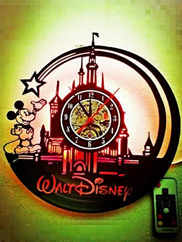 Wanduhr, Motiv: Micky Maus / Walt Disney alte CD-Platte, einzigartiges LED-Nachtlicht, kreatives Kinderzimmer-Dekoration, tolles Geschenk für Weihnachten, Halloween, 30 cm, rund, Schwarz
