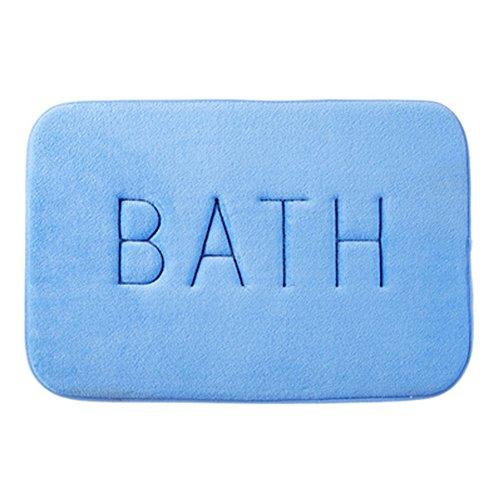 RANRANHOME Memory Foam Badematte Fiber Bad Dusche Badewanne Anti-Rutsch-Teppich,Blue