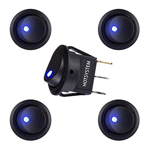 12v Kfz-schalter (HOTSYSTEM 12V 20A Auto KFZ Runder Schalter Wippschalter Ein-Ausschalter mit blauer LED Anzeige Wechsel Switch Kippenschalter 5 Stück)