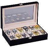 H&S® Glass Lid 12 Watch Jewellery Display Storage Box Case Bracelet Tray Faux Leather Black