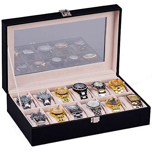 Price comparison product image H&S® Glass Lid 12 Watch Jewellery Display Storage Box Case Bracelet Tray Faux Leather Black