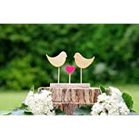 Wedding cake topper birds, Love birds wooden cake topper, handmade cake decorations, engagement party cake topper, couple party cake, bride and groom gift, matching favours