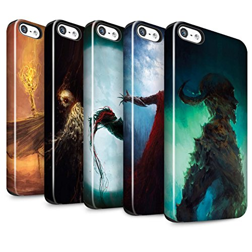 Offiziell Chris Cold Hülle / Glanz Harten Stoßfest Case für Apple iPhone SE / Kriegsheld/Warlock Muster / Dämonisches Tier Kollektion Pack 6pcs