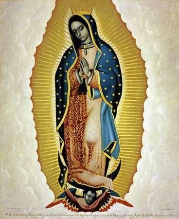Feelingathome- IMPRESION-SOBRE-LIENZO-100% algodon-La-Virgen-De-Guadalupe-cm82x67-cuadro-reproduccion-en-lienzo-ENMARCADO