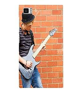 Guitar, Red, Bricks, Man Playing Guitar, Printed Designer Back Case Cover for Xiaomi Mi3 :: Xiaomi Mi 3