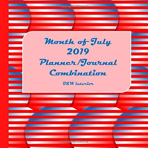 Month of July 2019 Planner/Journal Combination: Seventh Month in the lined Planner/Journal Combo Series, black and white interior, matte cover, ... increment planner, Red white blue scales Pen Combo