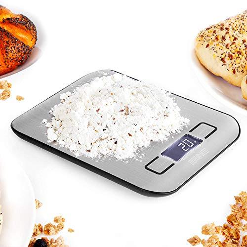 Duronic ks1007 bilancia da cucina digitale ultrasottile - portata 1g / 5 kg - alta precisione - display lcd retro illuminato - funzione tara – argento