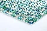 10x10cm Muster. Glas Mosaik Fliesen Muster in Grün, Blau, Weiß und mit violettem Schimmer gehammertes Glas (MT0052 Muster)