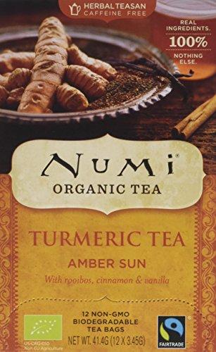 Numi Teas Organic Turmeric Amber Sun 12 Teabags (Pack of 6, Total 72)