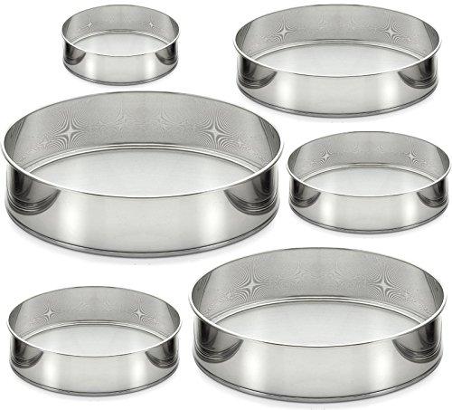 6tlg Mehlsieb Set Edelstahl Rund für die Herstellung aller Arten von Cookies, Brot und Kuchen , Küchensieb-Backsieb STAR-LINE®