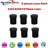 Tradico® Free Shipping 2 8mm 3 6mm 6mm 8mm 12mm 16mm Ir Lens Fixed Iris Lens Set For Cams And Security Ccd Cmos CCTV Camera 6 Lens Pack