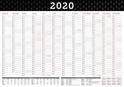 Großer Wandkalender 2020 in DIN A1 (84 x 59,4 cm) gefalzt, fürs Büro. Wandplaner, Jahreskalender XXL für 12 Monate 2020. Jahresplaner groß inklusive ... gesetzlichen Feiertage und Vorschau für 2021