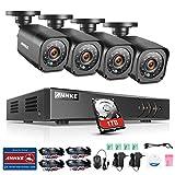ANNKE Überwachungssystem CCTV Videoüberwachung 4CH 1080N DVR Recorder mit 1TB Überwachungs Festplatte plus 4*720P Überwachungskameras Wetterfest Nachtsicht 20-30 Meter für innen und außen Überwachung