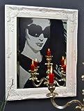 Spiegel Wandspiegel barock antik Silber Weiß Gold 50x 40 cm Landhaus Holz (Weiß)