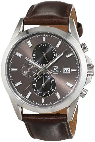Time Piece Men's Quartz Watch with Grey Dial Chronograph Display and Leather Brown - TPGS-20176-21L