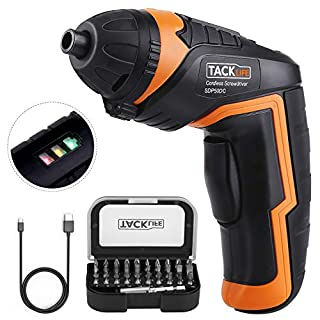 TACKLIFE Electric Screwdriver, SDP50DC Cordless Screwdriver 2000mAh 3.6V 4N.m Li-ion Battery with Battery Indicator with 31 Free Accessories for Home DIY and Fit for Ladies, Newbies and Experienced