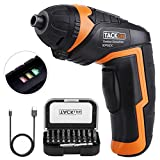 Tacklife SDP50DC Cordless Screwdriver Rechargeable Electric Compact Driver with 3.6V Lithium-Ion Battery, 30-Pieces Bit