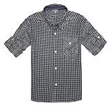Bienzoe Boys Baumwolle Plaid aufgerollt Ärmel Button-Down-Shirt Schwarz Weiß Größe 5/6