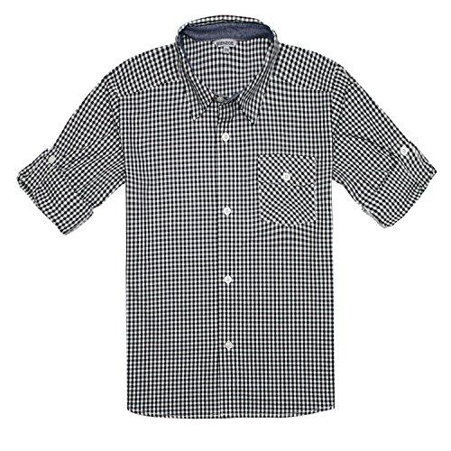 Bienzoe Jungen Baumwolle Plaid Knopf Unten Hemd Schwarz Weiß Größe 9/10 (Zur Kleidung, Schule Zurück)