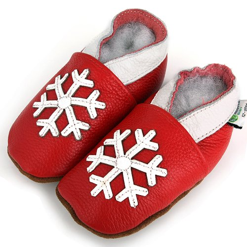 AUGUSTA BABY Baby Boys Girls First Walker Soft Sole Leather Baby Shoes - Genuine Leather Snowflake red