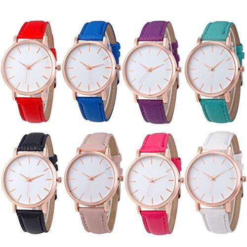 Price comparison product image Yunanwa 8 Pack Unisex Women Men Rose Gold Leather Watches Brand Bracelet Dress Jelly Wrist Charm Watch Wholesales Lot Set 8pcs