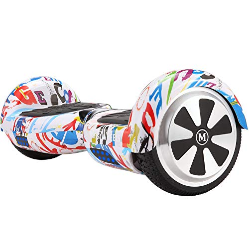 M MEGAWHEELS Patinete electrico, 6.5 Pulgadas con Bluetooth - 500W Motor Monopatin Electrico Self Balance Scooter.(Grafiti)