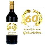 SHIRT-TO-GO Flaschenetikett zum 60. Geburtstag für Wein und Sektflaschen als Geschenkidee zum 60. Geburtstag