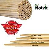 Netvic Lot de 100bâtons en bambou épais, extra longs et ultra résistants pour brochettes et guimauve 100% biodégradables 91cm x 5mm