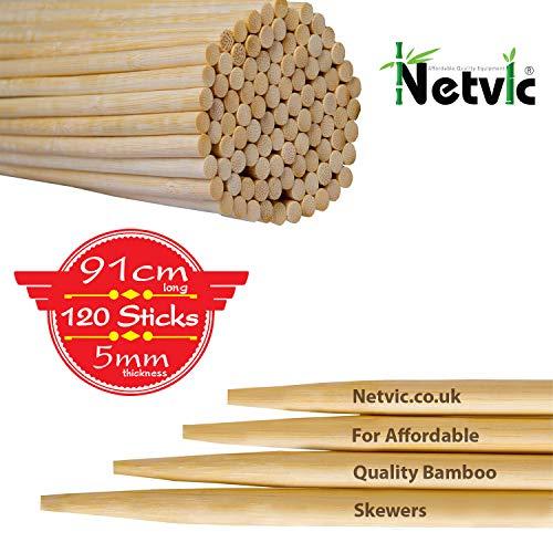 """Netvic s 91 cm (91,44"""") (36"""") 5 mm con spiedi per Kebab-Marshmallow e bastoncini in bambù per arrosto, spiedini, spessore Extra lungo per spiedini in legno, 100 pezzi, Perfette per Hot Dogs, i Kebab e wurstel, l'Eco ed biodegradabili al 100%"""