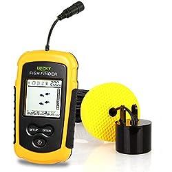 JVSISM FF1108-1& FF1108-1CT Buscador de Peces portatil Sonda de Sonda de Profundidad Buscador de Peces a Prueba de Agua de Alarma pez Sonar (FF1108-1)