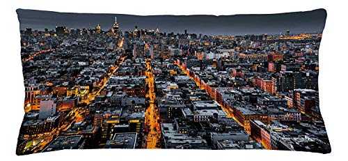 City Throw Pillow Cushion Cover, Avenues Converging Towards Midtown in New York America Architecture Aerial, Decorative Square Accent Pillow Case, 18 X 18 inches, Marigold Grey Black