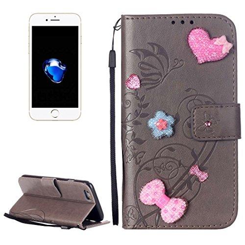 Für iPhone 7 Herz Diamant verkrustete Blumen prägen horizontalen Flip Ledertasche mit Halter & Card Slots & Wallet & Lanyard für iPhone 7 by diebelleu ( Color : Red ) Grey