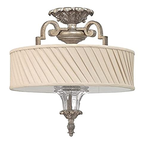 Regal Style Semi Flush Ceiling Light with Pleated Fabric Lamp Shade