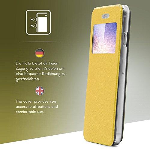iPhone 6 / 6s Étui , Urcover View Case [avec Fenêtre] Housse Apple iPhone 6 / 6s avec Support Stand Coque Noir Protection Ecran Téléphone Jaune