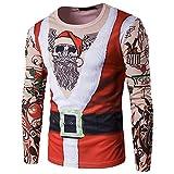 Togelei Herren Weihnachten Tops Herren Herbst Winter Weihnachten Weihnachten PrintingTop Herren Langarm T-Shirt Bluse Drucken O-Neck Langarm Mode Sport Sweatshirt Weihnachtsmann drucken