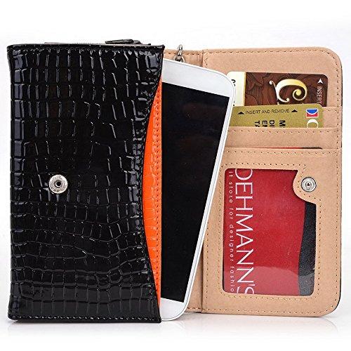 Kroo Croco Étui portefeuille universel pour smartphone avec bracelet de protection d'écran haute qualité pour Allview E2Living/A6portable Quad noir - noir noir - noir