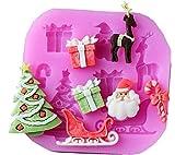 SA087 - Stampo in silicone per uso alimentare di babbo natale - renna - albero natalizio - pacco regalo - caramella bonbon - slitta - Pasta di zucchero - Fondenti - Torte - Pancake - Muffin