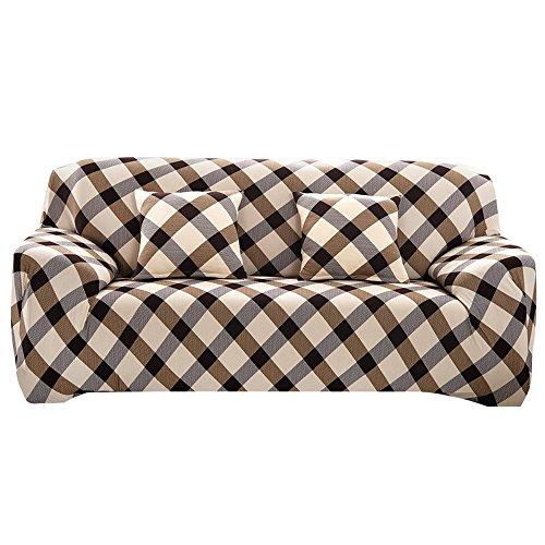Souarts Sofabezug elastische Stretch SofaBezug mit 4 verschienden Größe Bezug Couchsessel Stretch Husse/Sofa Bezug/Sofabezüge /Sofa Husse (2 Sitzer 145-185cm, Kariert) (Zwei Sitz Couch)