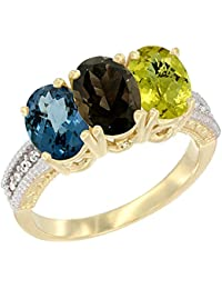 14 ct Gelb Gold Natural London Blau Topaz, Smoky Topaz & Lemon Quarz Ring Ehering 7 x 5 mm Oval Diamant Accent, Größe S
