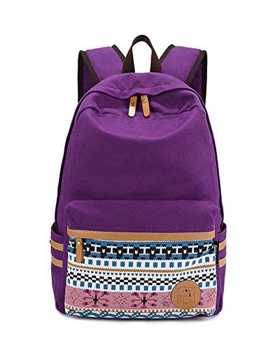 Schultasche Outdoor Freizeit Daypacks Backpack Mädchen Schulrucksack Damen Canvas Rucksack Schwarz Lila1