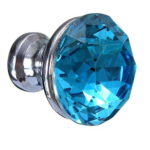 Revesun 8PCS Lake Blue Diamond Shape Crystal Glass Cupboard Wardrobe Knob Door Cabinet Drawer Pull Handle 25mm