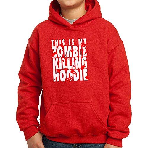 Des Kostüm Teufels Sprechen - Nutees This Is My Zombie Killing Hoodie Halloween Costume Komisch Unisex Kinder Kapuzenpullover - Rot 9/11 Years