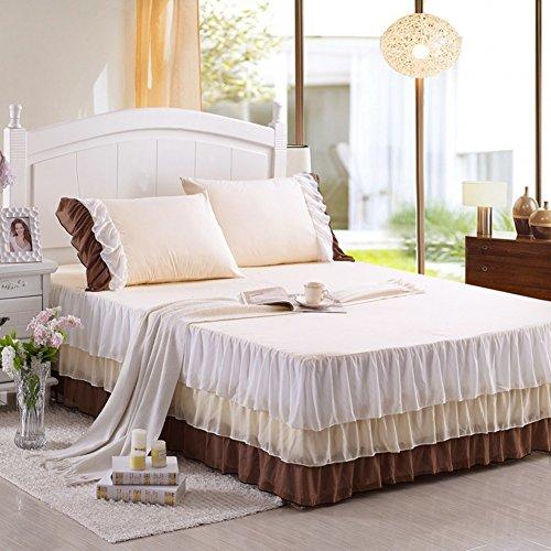 hxxkact Spitze Bettvolant,Farbe Dekoration Tagesdecke Bettüberwurf Enthält Zwei Kissenbezüge 45cm Fallen-A 150x200cm(59x79inch)