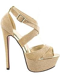 Elara Plateau Pumps | Party Stiletto High Heels | t-strap correas purpurina | chunkyrayan