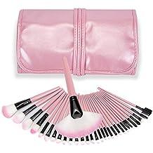 Juego de brochas de maquillaje profesional, 32 piezas, funda de piel, color rosa