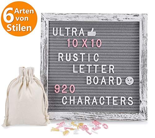 Brief Board, Filz Brief Board mit 920 PCS austauschbare Buchstaben & schöne Emojis, 10 x 10 Zoll massives Eichenholzmaterial, dekorative Anzeigetafel mit Metallhaken (rustikales Grau)