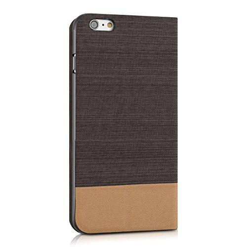 kwmobile Hülle für Apple iPhone 6 Plus / 6S Plus - Bookstyle Case Handy Schutzhülle Textil mit Kunstleder - Klapphülle Cover Dunkelblau Braun .Anthrazit Braun