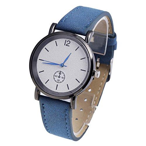 Huhuswwbin orologio sportivo semplice orologio da polso da uomo in pelle sintetica con cassa in quarzo analogico da donna - blu