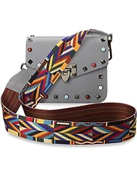 TRENDY italienische Damentasche Schultertasche Umhängetasche bunte Nieten Azteken – Muster vera pelle grau