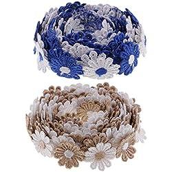 B Baosity 2 Unids 3 Yardas Adornos Florales y Decoración con Motivos Florales de Encaje, Adornos de Encaje Bordados para Diseñadores